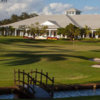 A view of green #18 and the clubhouse at Delray Dunes Golf & Country Club.