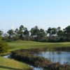 A view of a green with water coming into play at Hammock Creek Golf Club.