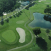 Aerial view of green #2 flanked by bunkers at Myerlee Country Club