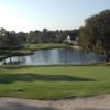 A view of the 5th hole with water coming into play at Hidden Hills Golf Course.