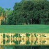 A view over the water of a green at Eco Golf Course