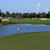 A view of a green with water coming into play at Lost Tree Club
