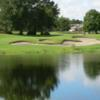A view of a green with water and bunkers coming into play at Wekiva Golf Club