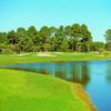 A view of a well protected hole at Indigo Lakes Golf Club.