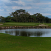 A view of a green with bunkers and water coming into play at IMG Academy Golf Club.