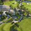 Aerial view of the clubhouse and parking area at Sawgrass Country Club
