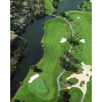 The eighth hole at The Club at Emerald Hills is a long straight away with water down the right side.
