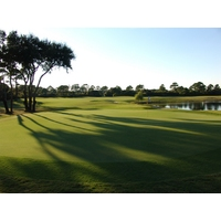 The view from the green on the crescent-shaped 14th hole at Amelia River Golf Club.