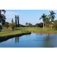 The 163-yard 14th on the Red Course at Doral Golf Resort & Spa features water on either side.
