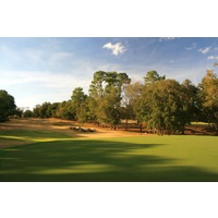 The 16th hole on the Rolling Oaks Course at World Woods Golf Club is a par 3 that plays gently downhill.