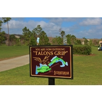 A golfer tees off on the 11th hole, the start of the Talon's Grip at Stoneybrook Golf Course in southwest Florida.