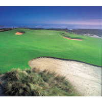 The 12th hole, the longest par 3 on the Ocean at Hammock Beach Resort, is one of the most challenging on the course with water and sand along the left side.