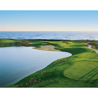 The penultimate hole on Hammock Beach Resort's Ocean Course is a short par 3 that plays toward the Atlantic Ocean.