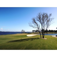 The tough 493-yard 18th hole at the new Floridian Yacht & Golf Club ends up at the marina on the St. Lucie River.