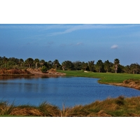 Water dictates play on the fourth hole of the Estuary nine at the River Strand Golf and Country Club in Bradenton.
