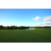 The fifth hole on the Osprey nine at Raptor Bay Golf Club is a 400-yard par 4.