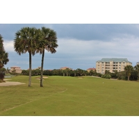 The seventh hole on the Ocean golf course at Hammock Beach Resort often plays against the wind.