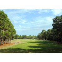 The par-4 13th at Raven Golf Club at Sandestin Golf and Beach Resort has a tree-lined fairway.