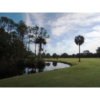 The par-4 seventh at Selva Marina Country Club plays around a lake and tall pines.