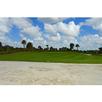Coquina cart paths and waste areas, like this one on the second hole of the Falcon Course, are an integral part of Osprey Point G.C. in Boca Raton.